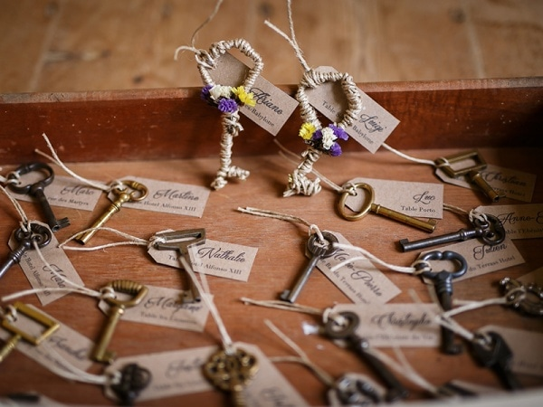 escort cards tied to vintage keys | Wedding Inspiration Board ...