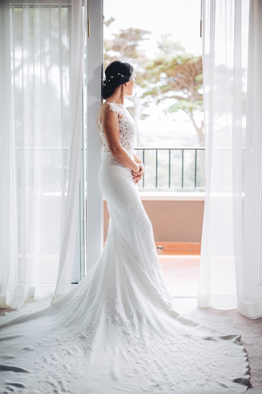 bridal portrait in wedding gown with gorgeous train