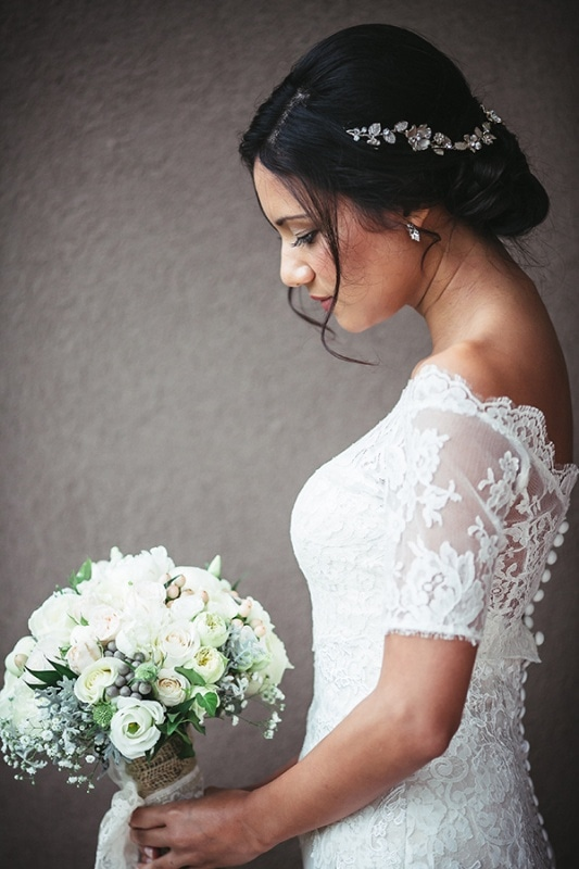 off-the-shoulder lace wedding gown