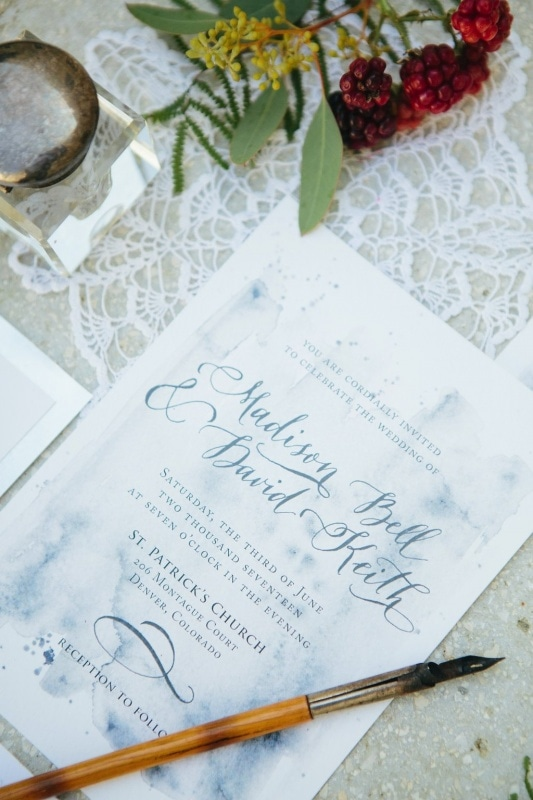 dusty blue calligraphy wedding invitaton