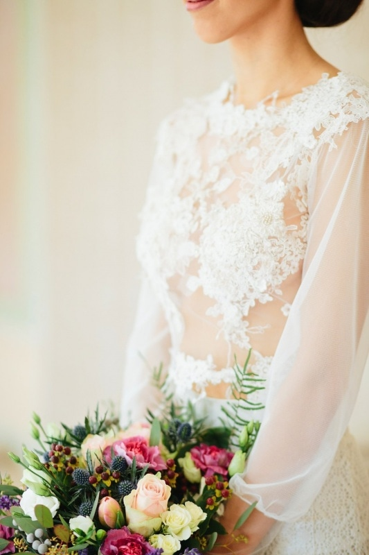 two piece wedding gown with see-through lace top