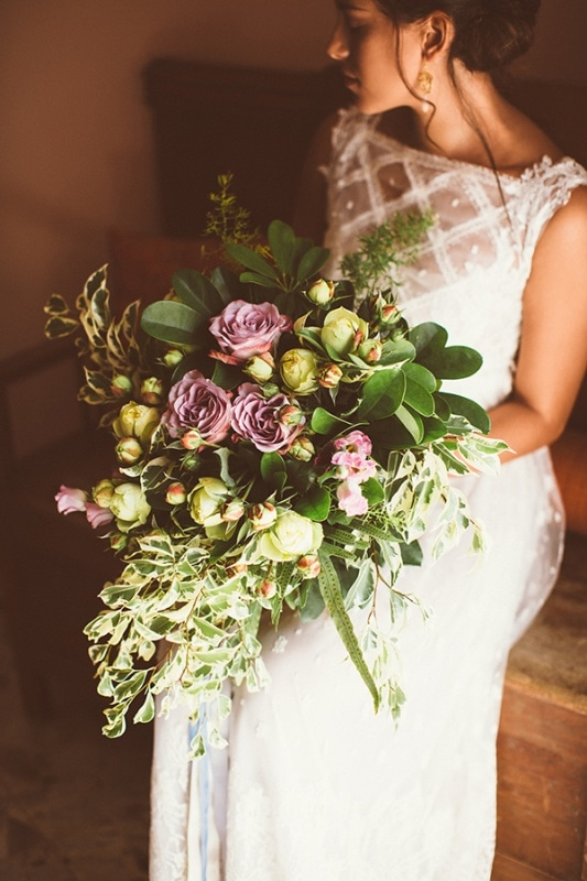 Sage Green and Lavender Rose Floral Bouquet