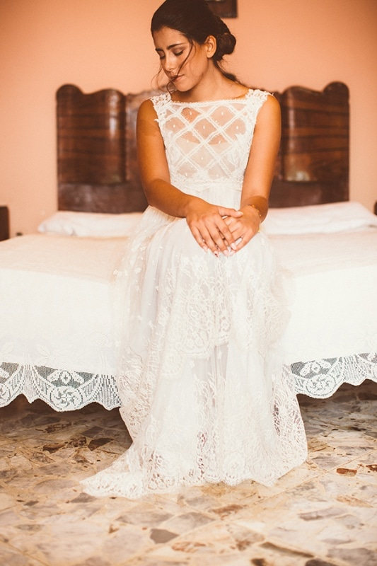 Sleeveless French Lace Bridal Gown