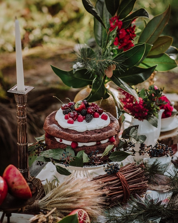 Winter Holiday Dessert Table with Holly, Wheat, and Greenery Accents