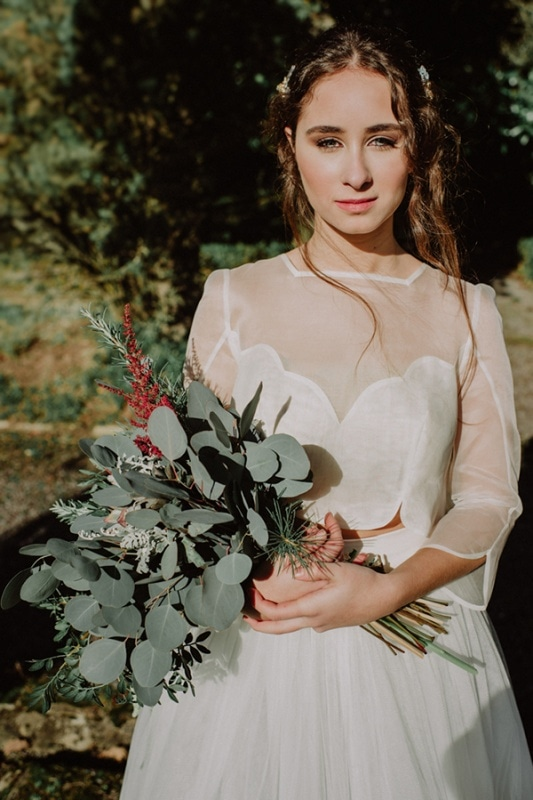 Modern Structured Bridal Gown and Eucalyptus Bridal Bouquet
