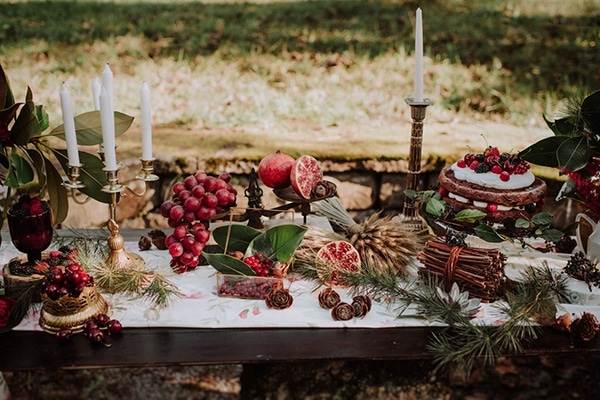Winter Holiday Dessert Buffet Table with Festive Red Accents