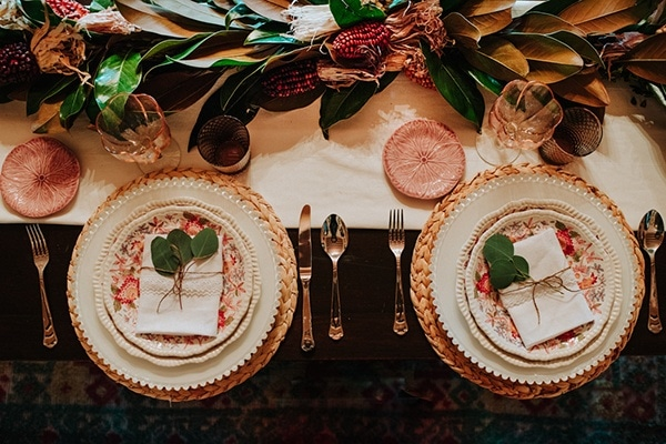 Moody Autumnal Rose and Coral Wedding Place Setting