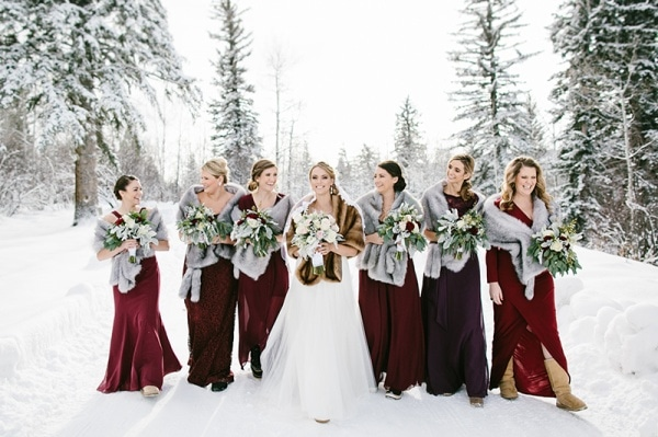 Burgundy Winter Bridesmaid Dress With Fur Stoles Inspiration
