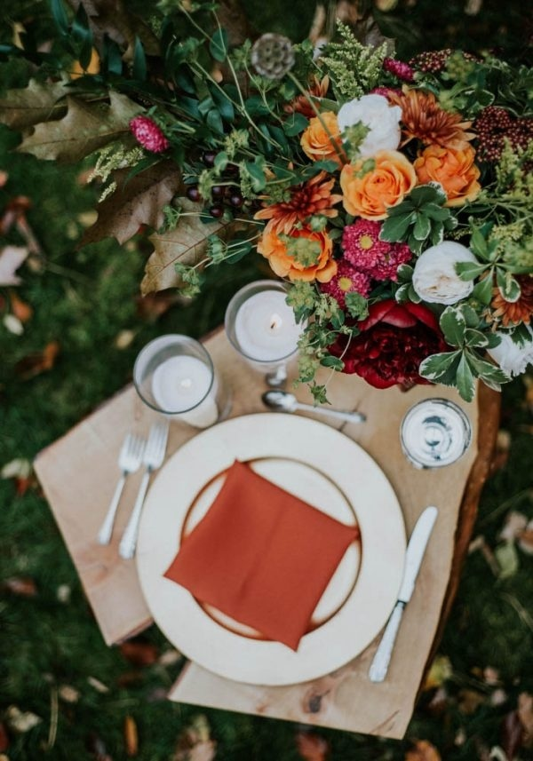 Burnt Orange Autumnal Floral Centerpiece and Napkin