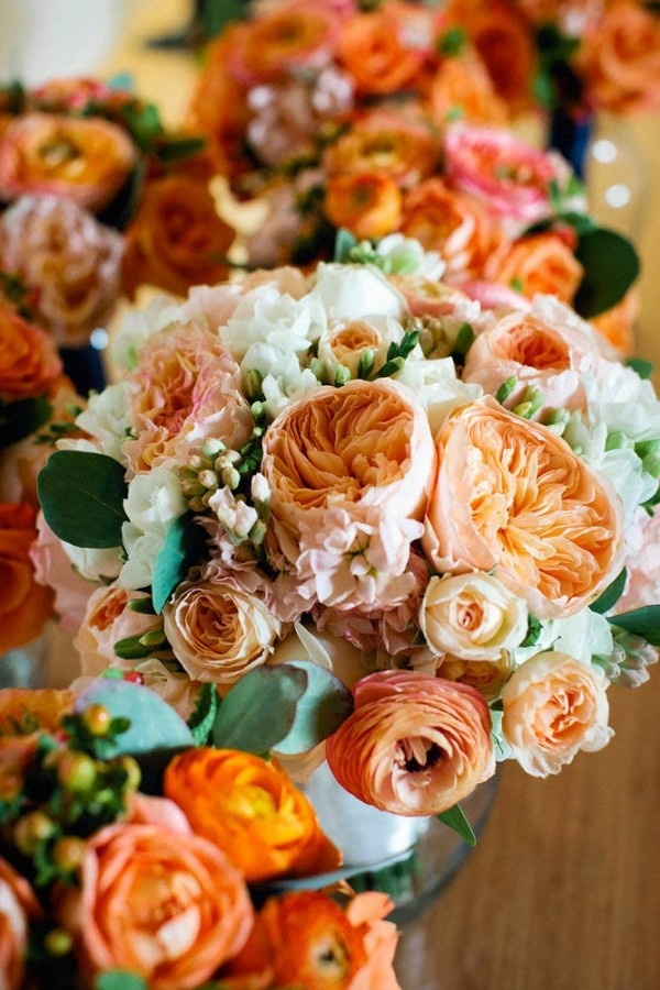 Burnt Orange and Light Pink Floral Wedding Centerpieces