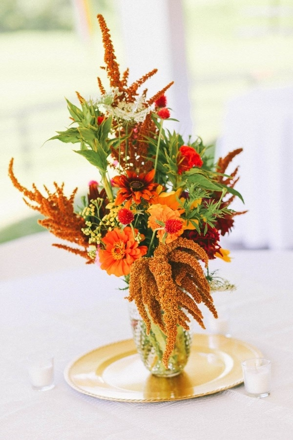 Autumnal Burnt Orange and Yellow Floral Wedding Centerpiece