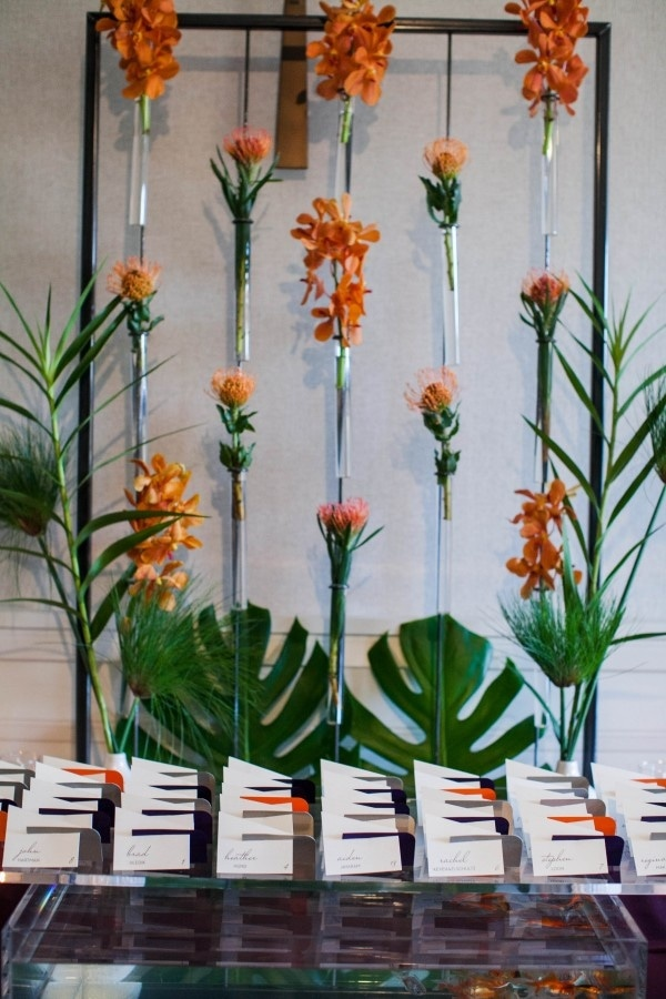 Burnt Orange Tropical Frond Bud Vase Floral Wall Installation ... on flower plates, flower furniture, flower coral, flower bells, flower pitchers, flower teapots, flower candles, flower fairy lights, flower bud curtains, flower bookends, flower mugs, flower flowers, flower tables, flower baskets, flower vase design, flower paperweights, flower night lights, flower vase holder, flower corsages, flower urns,