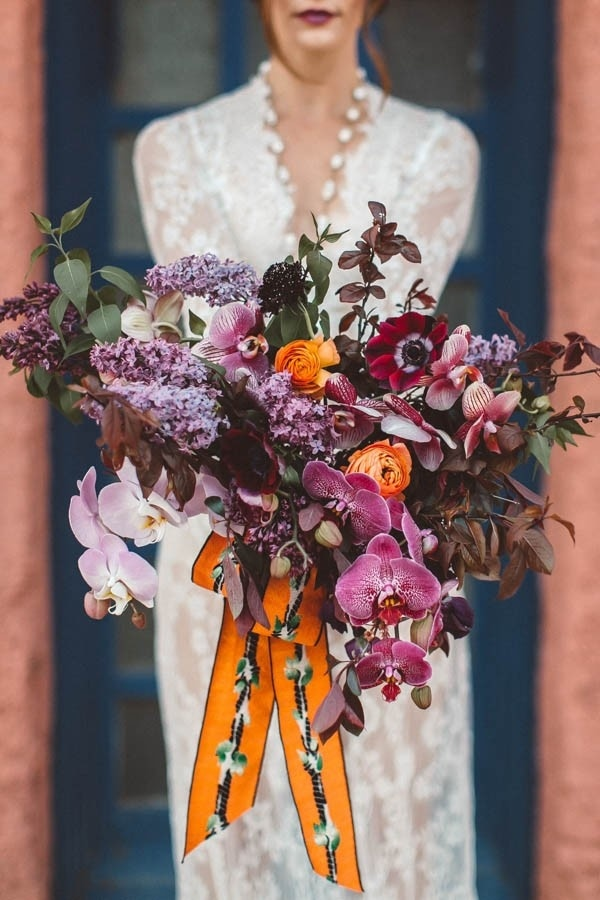Burnt Orange and Fuchsia Desert Wedding Bridal Bouquet | Wedding ...