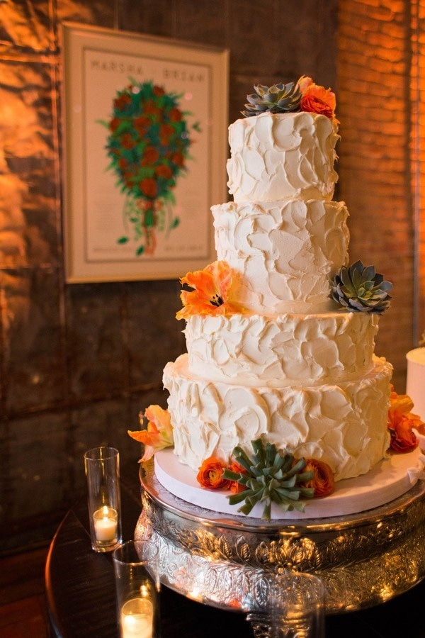 Modern Burnt Orange Succulent Wedding Cake