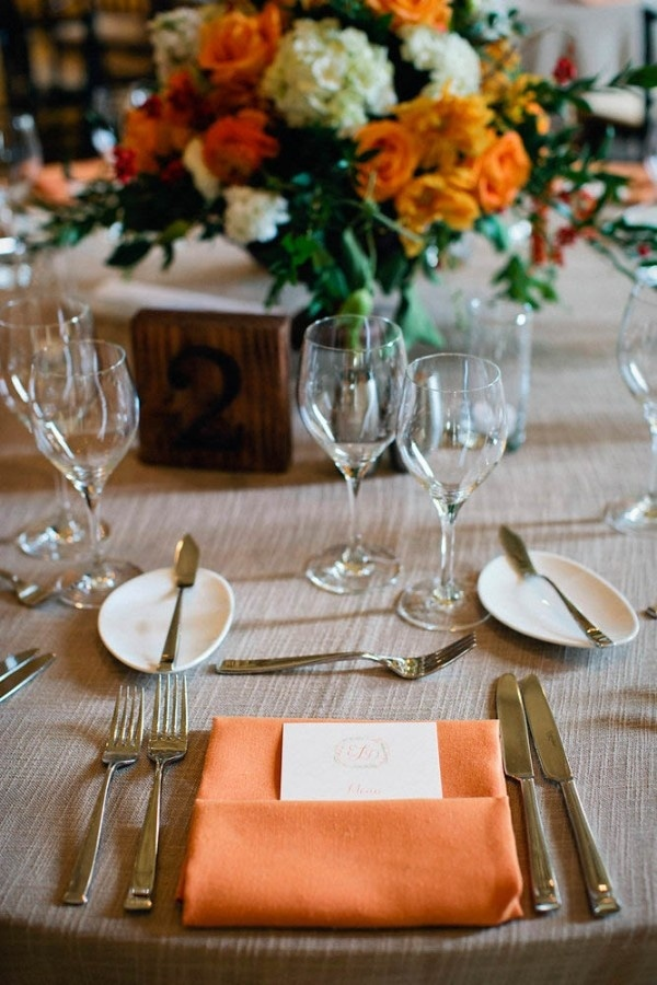 Burnt Orange Wedding Napkin Menu and Floral Centerpiece