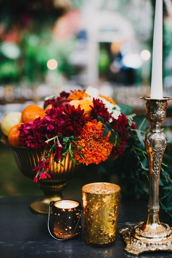 Burnt Orange and Magenta Floral Wedding Reception Centerpiece