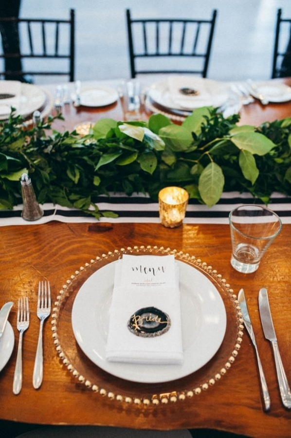 Modern Gold, Black, White, and Green Wedding Reception Decor
