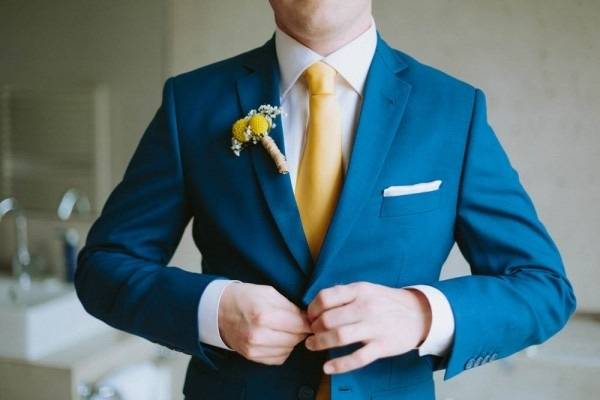 Blue and Yellow Groom Style Inspiration