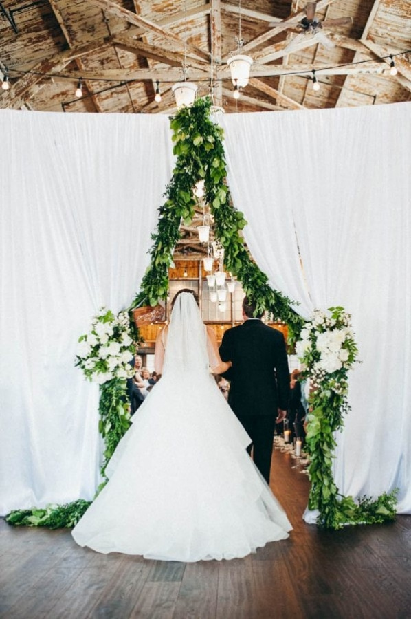Ceremony Entrance: White Curtain Lined with Garland