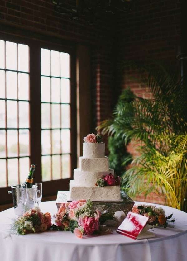 Spring Wedding Cake with Bright Pink Flowers