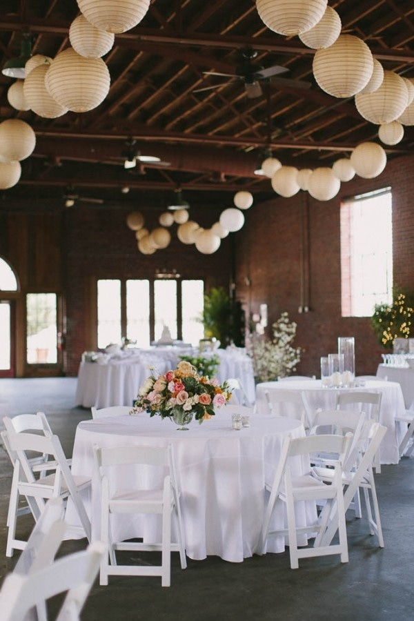Wedding Reception with Spring Florals and Ivory Lanterns