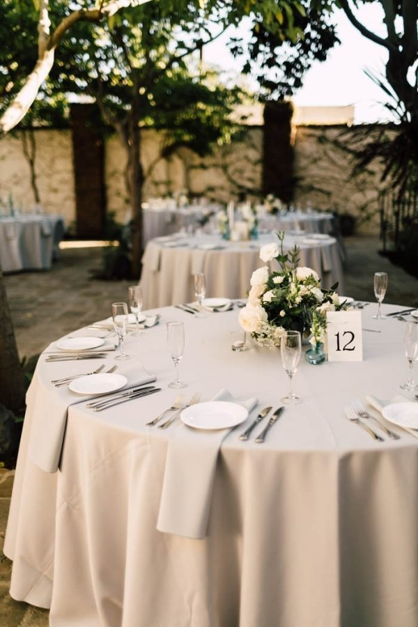 Tuscan Inspired Wedding Reception Grey And White Table Setting