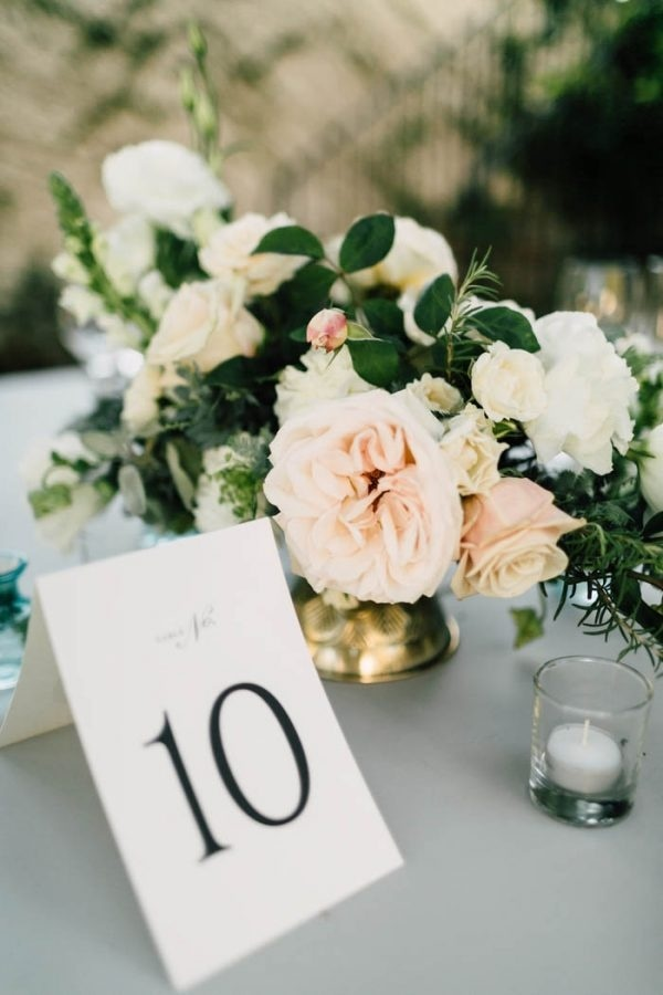 Modern Table Number with Light Pink and Ivory Floral Arrangement