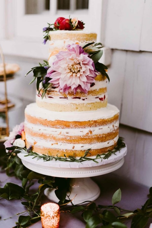 Tiered Naked Cake with Pink Flowers