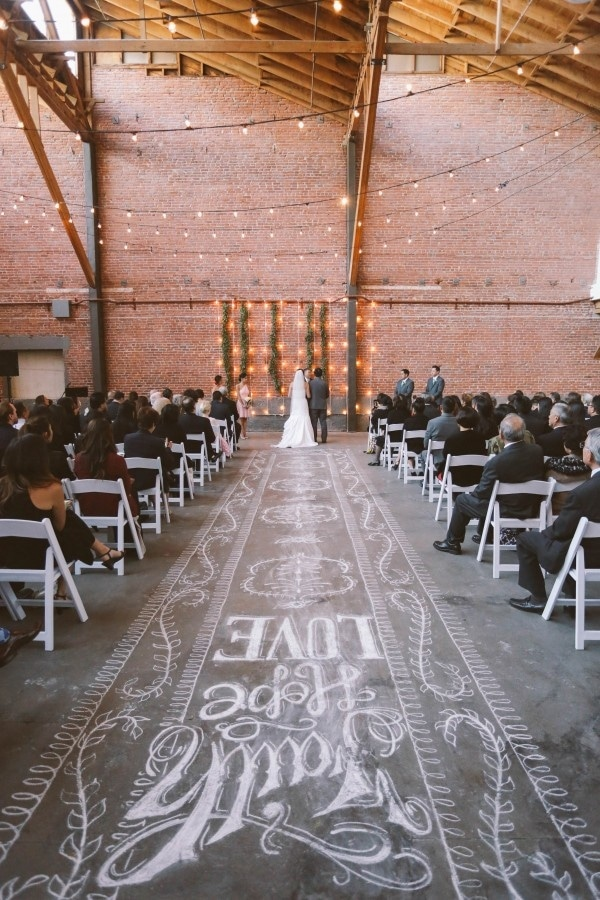Chalkboard Faith, Hope, and Love Ceremony Aisle Runner