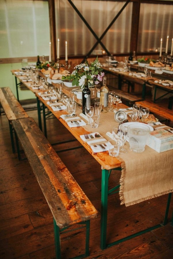 Rustic And Laid Back Barn Reception With Picnic Tables