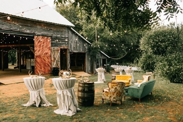 Vintage Lounge Seating Outside Barn Reception