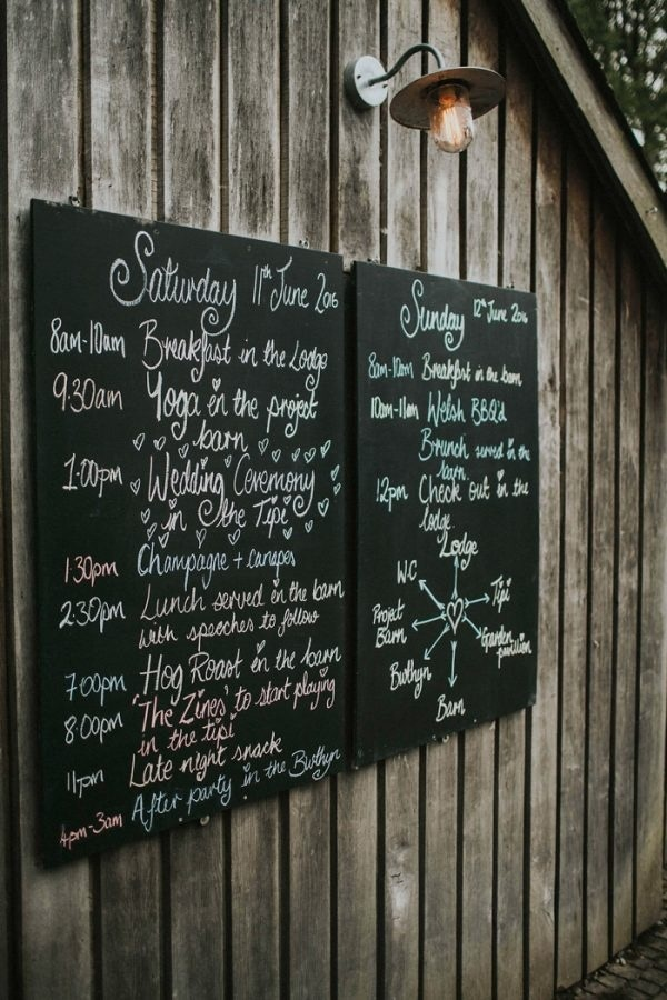 Chalkboard Signs with the Wedding Day Schedule