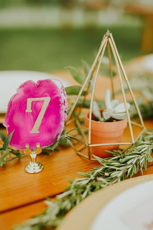 DIY Reception Geode Table Numbers and Geometric Succulent Container