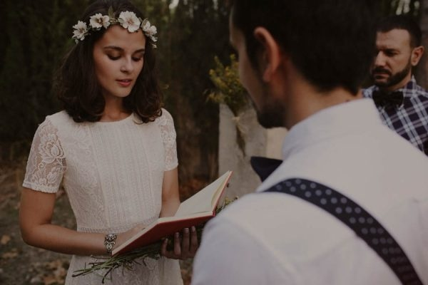 Rural Rustic Boho Forest Elopement Ceremony