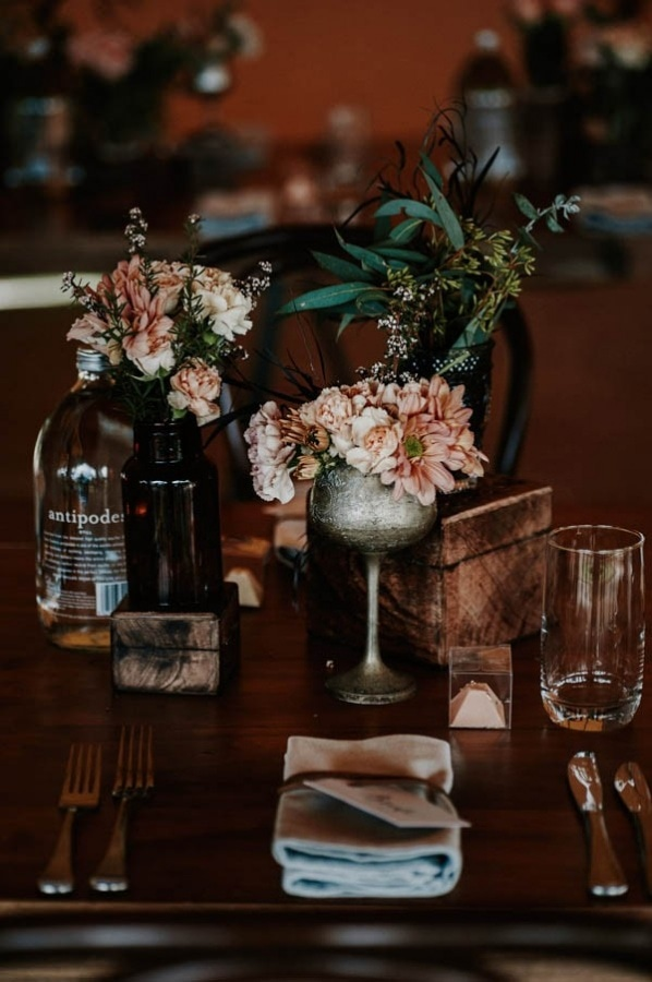 Lush Bohemian Textured Tablescapes with Mixed Vessels