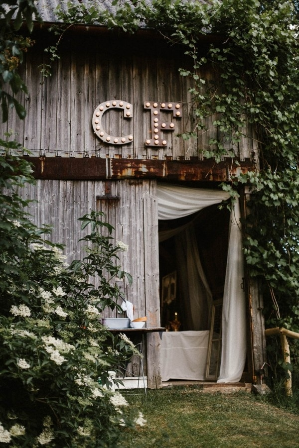 Private Barn Reception in Germany with Marquee Initials