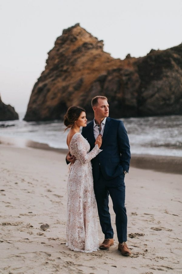 Big Sur Golden Hour Beach Elopement Couple Portrait