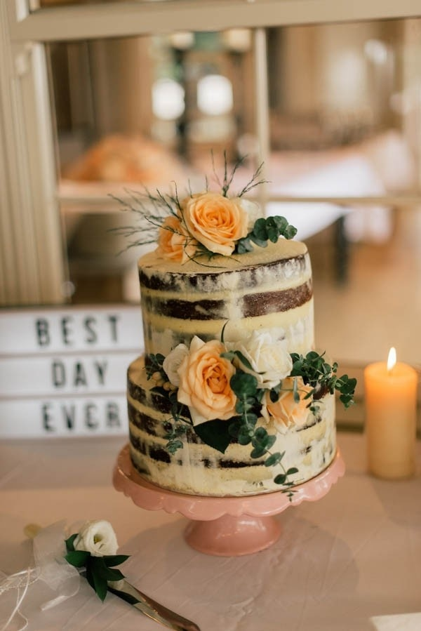 Bohemian Nearly Naked Cake with Peach Floral Decorations