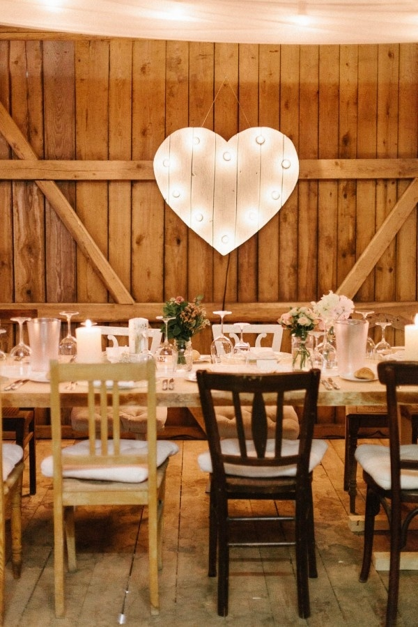 Marquee Wood Heart and Mismatched Chairs