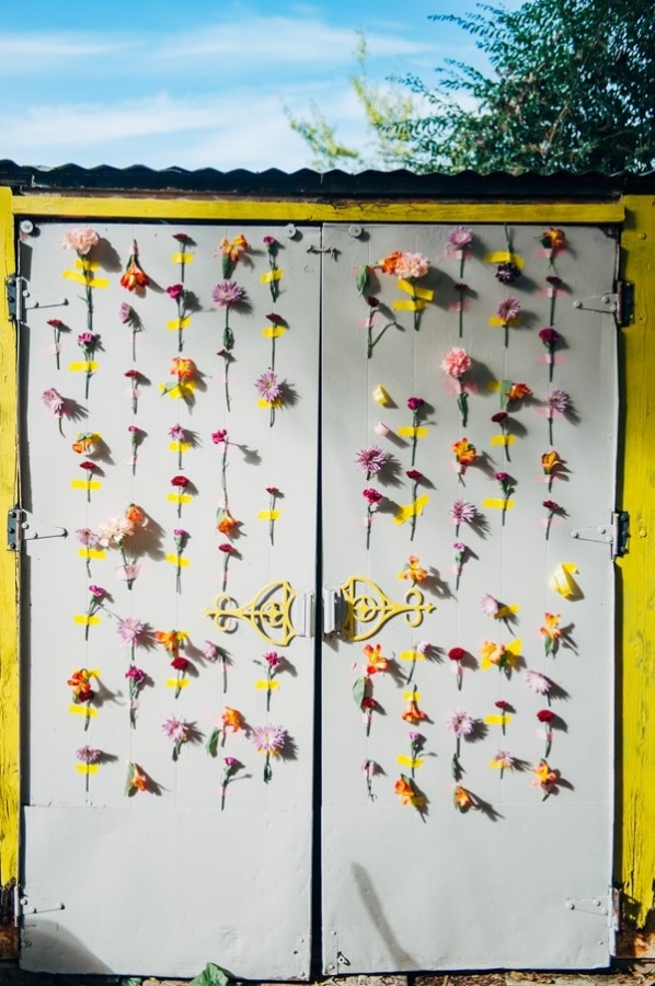 Eclectic DIY Taped Wedding Florals on Doors