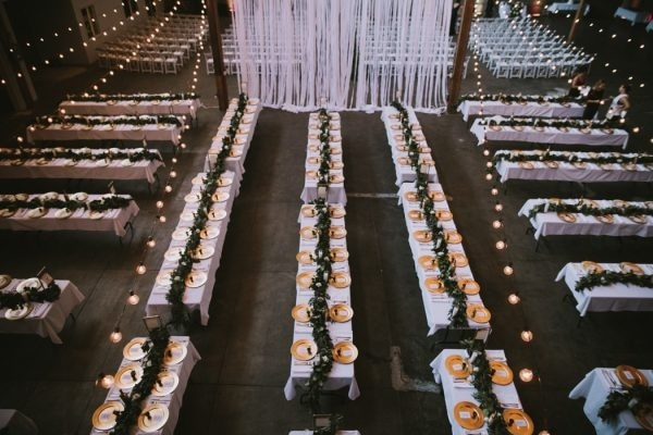 Industrial Modern Warehouse Venue Reception Tables