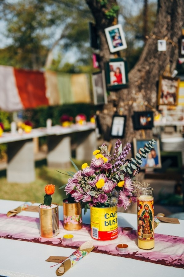 Quirky DIY Backyard Wedding Reception Venue Tablescape