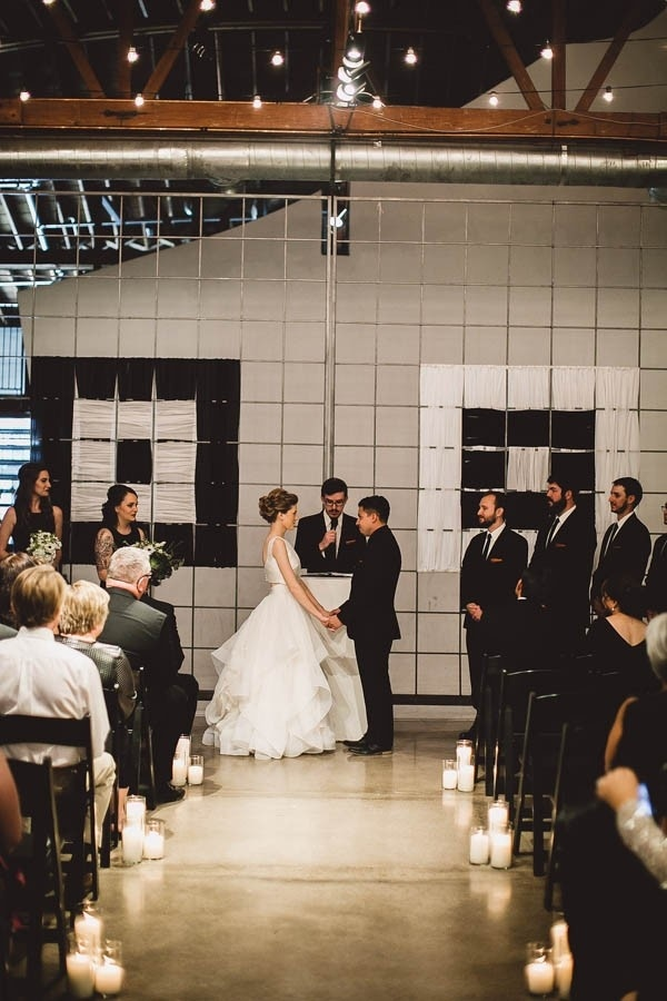 Industrial Modern Warehouse Ceremony Backdrop