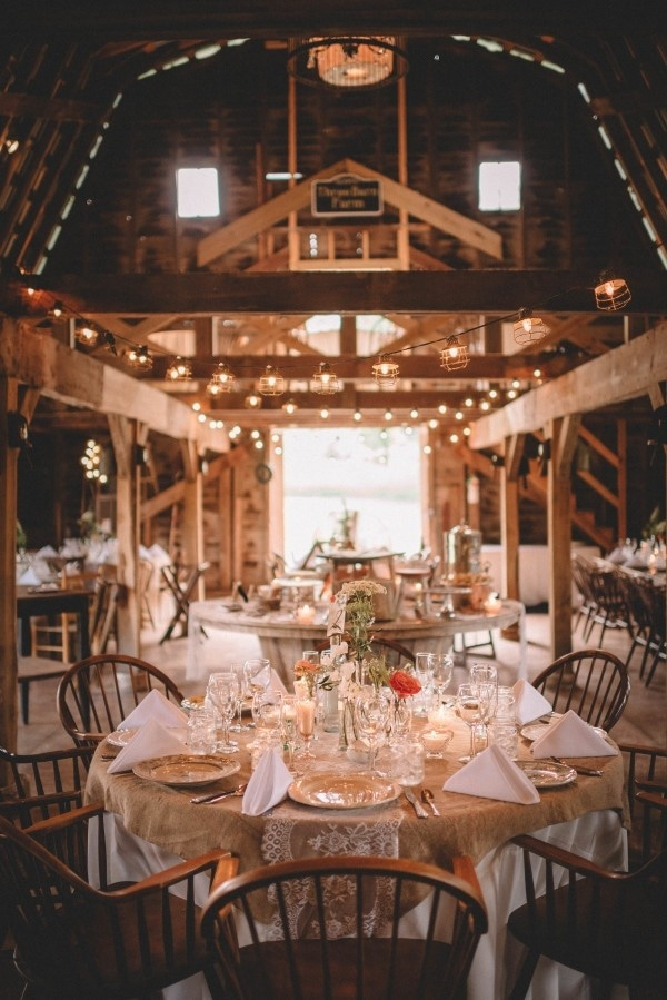 Cozy Barn Reception With White Table Cloths Burlap And Lace Overlays Wildflowers And Cafe