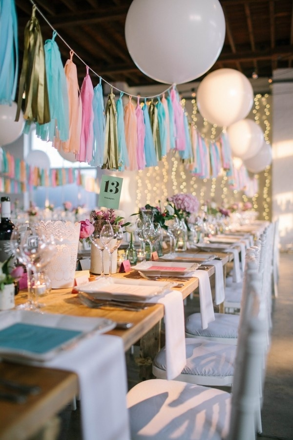 Colorful Industrial Wedding Venue with Tassels and Balloons