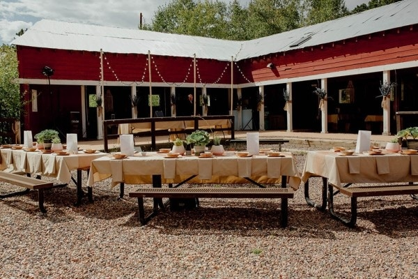 Outdoor Barn Reception with Picnic Tables