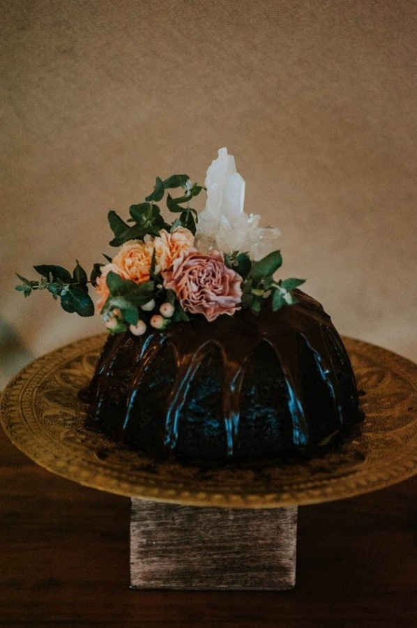 Lush Bohemian Bundt Cake with Crystals and Floral Toppers