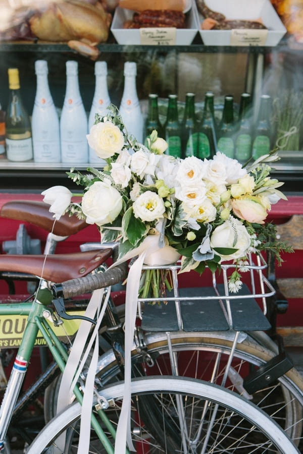 Bridal Bouquet on Back of Bike Industrial Wedding Inspiration