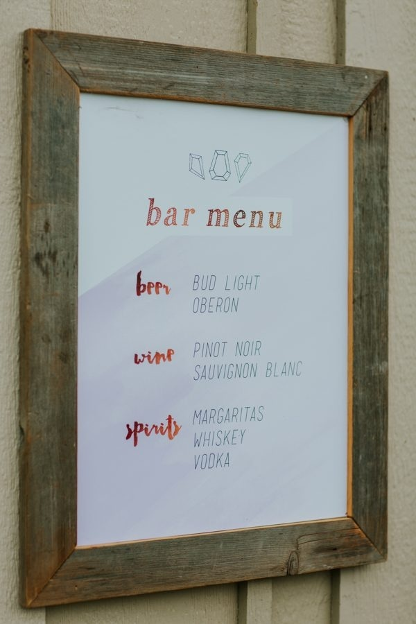 Handmade Diy Rustic Modern Wedding Bar Menu Wedding