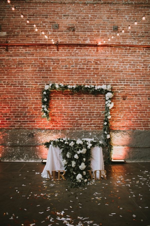 Industrial Warehouse Ceremony Backdrop and Table